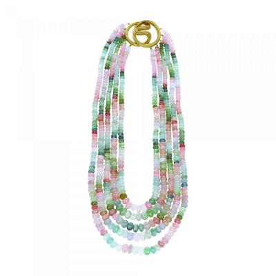 Natural Plain Multi Tourmaline Bead Necklace Clasp by Christopher Walling
