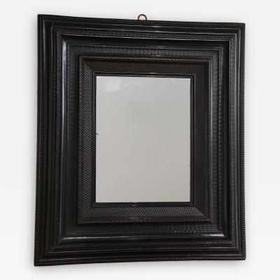 Late 18th C Italian Ebonized Walnut Guilloche Frame Mirror with Old Glass