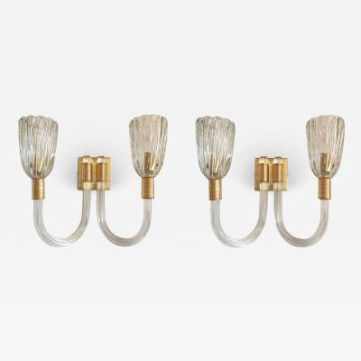 Barovier Toso Pair of Vintage Mid Century Murano clear glass brass sconces by Barovier Ita