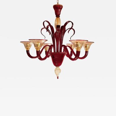 Venini Large red gold Murano glass Mid Century chandelier a Classic Venini style