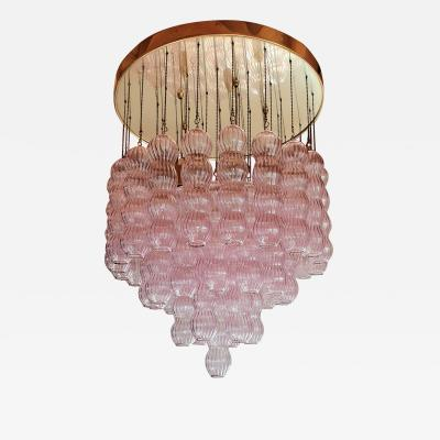 A V Mazzega Mid Century Modern purple Murano glass flush mount chandelier by Mazzega 1970s