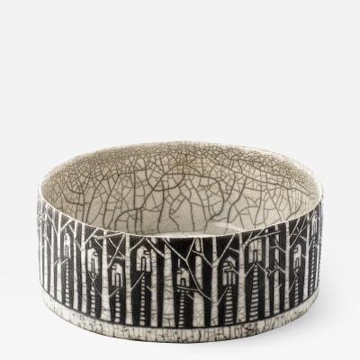 Camille Champignion Contemporary Black and White Ceramic Bowl Arbres Habit s
