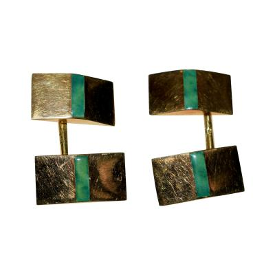 Janesich Janesich 18K Gold Jade Cuff Links in original Box
