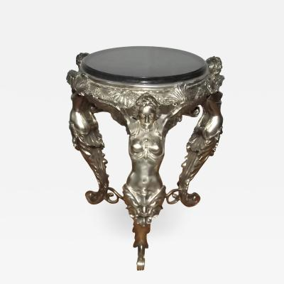20th Century Silver Over Bronze French Angel Side Table