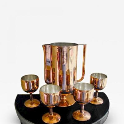 Norman Bel Geddes Art Deco Pitcher and Glasses