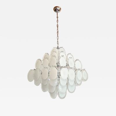 Vistosi Mid Century Modern large white Murano glass disc chandelier Vistosi Italy 1980s