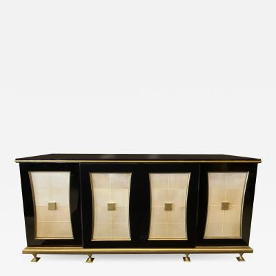 Jacques Quinet French Modern Black Lacquer Parchment Buffet Attributed Jacques Quinet
