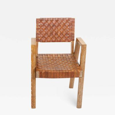Mid Century Handwoven Leather and Wood Chair France circa 1940s
