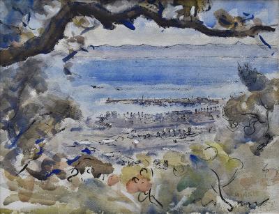 View of Santa Barbara from Hinkles Studio by Clarence Keiser Hinkle