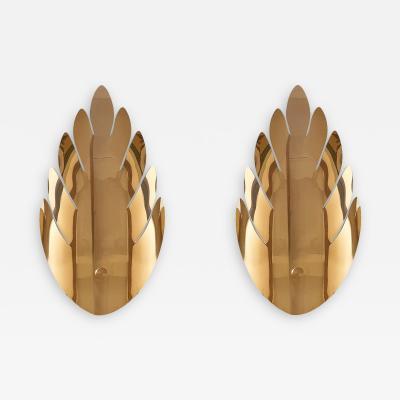 Maison Jansen Pair Mid Century Modern Brass Leaf Sconces Maison Jansen Style France 1970s