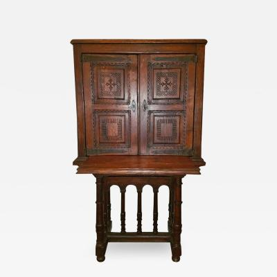 16C Spanish Oak Writing Cabinet Important