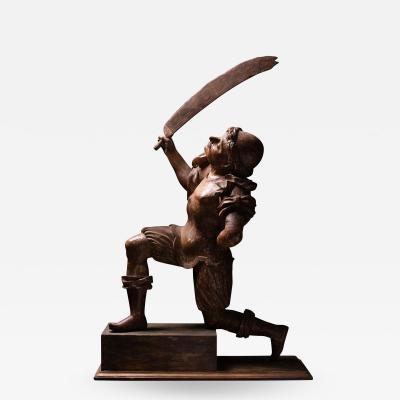 16th C Renaissance Dueling Soldiers Oak Sculpture
