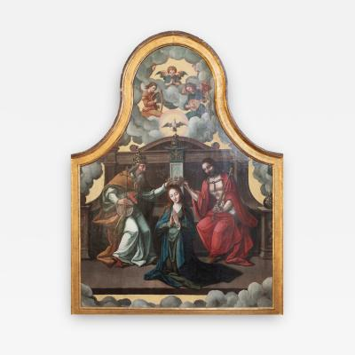 16th C Triptych The Coronation of the Virgin