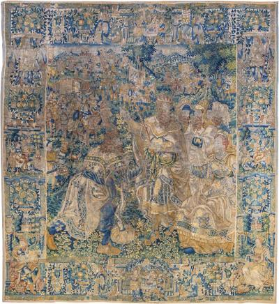 16th Century Flemish Tapestry Depicting Queen Esther King Ahasuerus and Haman