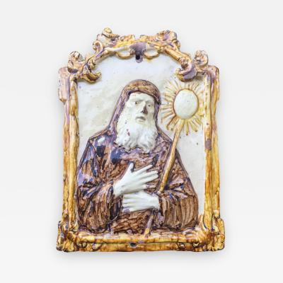 16th Century Majolica Tile Italian Bas Relief of San Francesco Da Paola