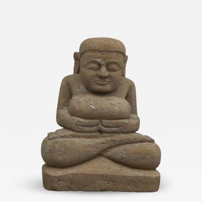 17 18TH CENTURY BURMESE SANDSTONE BUDDHA SEATED IN MEDITATION