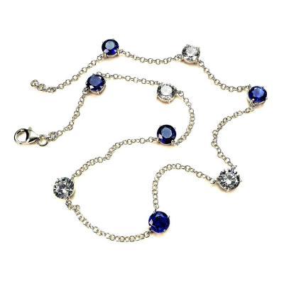 17 5 Inch Elegant necklace of Sparkling Blue Kyanite and White Zircon Gemstones