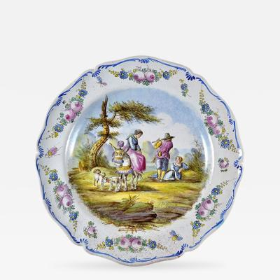 1767 Lille Faience 14 Platter France Artist Signed D Bergheim