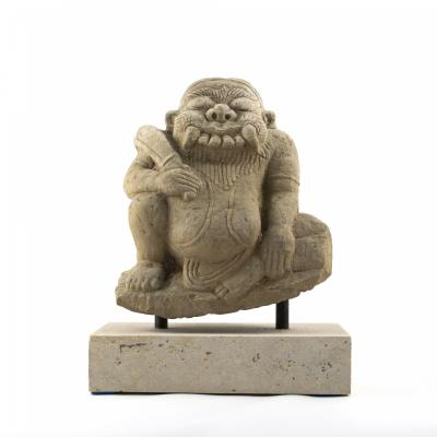 17TH 18TH CENTURY CARVED SANDSTONE TEMPLE SCULPTURE OF DEMON FROM BURMA