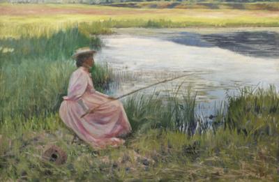 Joseph Henry Hatfield Young Woman Fishing along a River Joseph Henry Hatfield 1863 1928