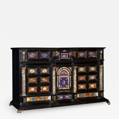 17th C Italian Gilt Bronze Pietre Dure and Marble Mounted Ebony Cabinet