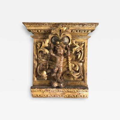 17th Century French Capital In Giltwood