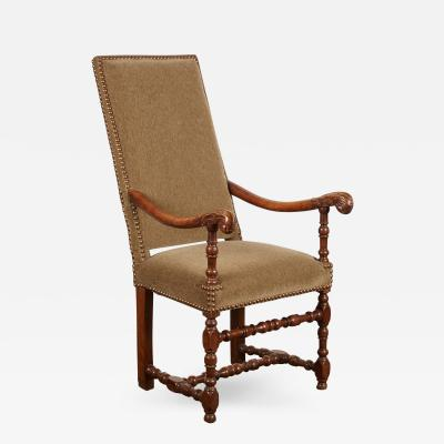 17th Century Louis XIII French Walnut Armchair with Upholstery