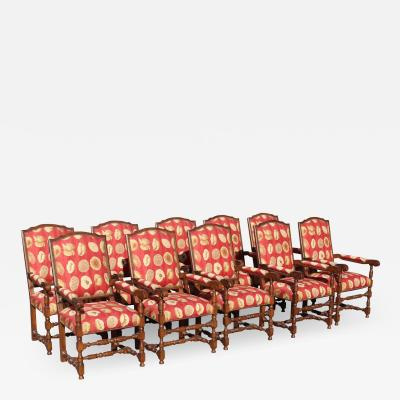 17th Century Style European Floral Fabric Dining Chairs Set of 10