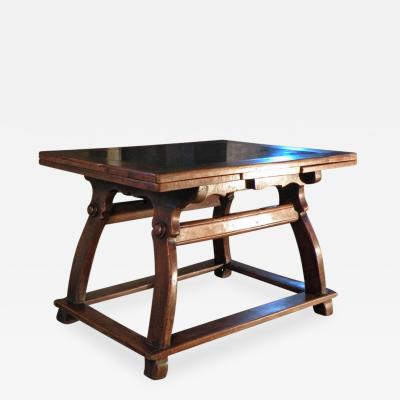 17th Century Swiss Stone Inlaid Center Draw Leaf Extension Table