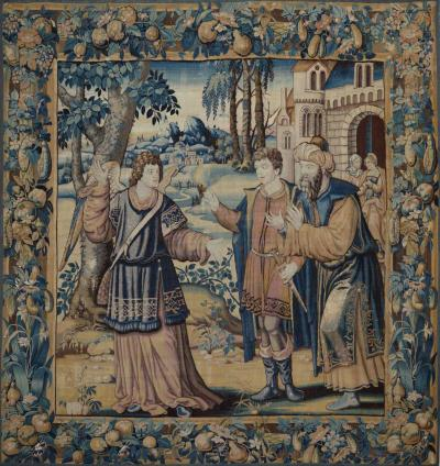17th Century antique tapestry St Raphael et Tobias