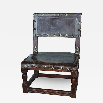17th c English Child s Chair in Leather with Brass Studwork