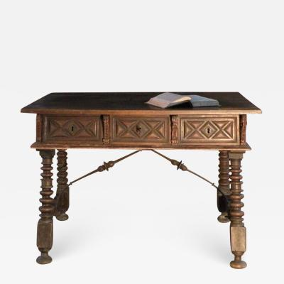 17th century Spanish Baroque Inlaid Walnut Desk or Center Table