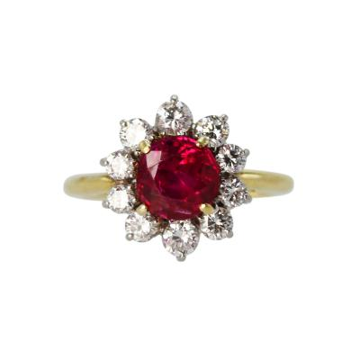 18 Karat Gold Platinum Ruby and Diamond Ring