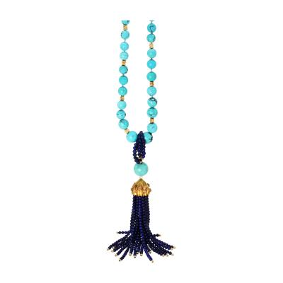 18 Karat Gold Turquoise and Lapis Bead Tassel Necklace