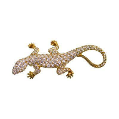 18 Karat Two Tone Gold and Diamond Lizard Brooch Italy
