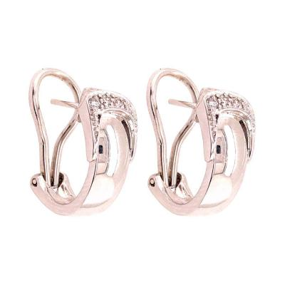 18 Karat White Gold French Lever Back Earrings with Diamonds