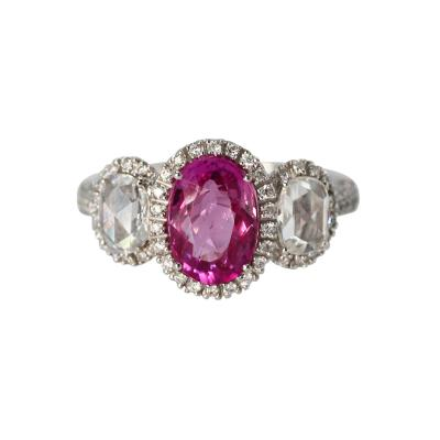 18 Karat White Gold Pink Sapphire and Diamond Ring