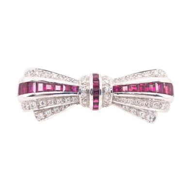 18 Karat White Gold Ruby and Diamond Brooch Pin Art Deco Style