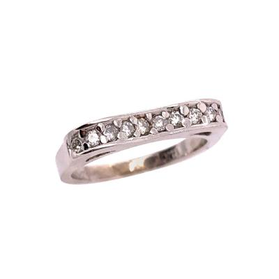 18 Karat White Gold and Diamond Wedding Band Bridal Anniversary Ring