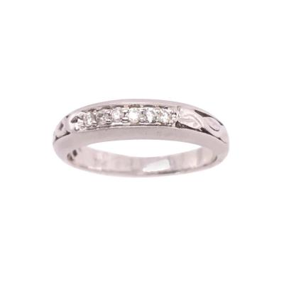 18 Karat White Gold and Diamond Wedding Band Bridal Ring