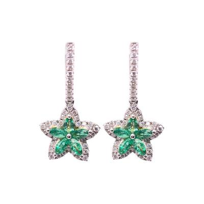 18 Karat White and Yellow Gold Emerald and Diamond Flower Drop Earrings