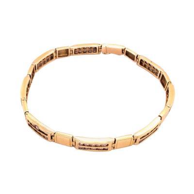 18 Karat Yellow Gold Fancy Link Bracelet with Diamonds