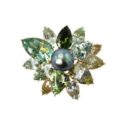 18 Karat Yellow Gold Green Tourmalines and Tahitian Pearl Brooch