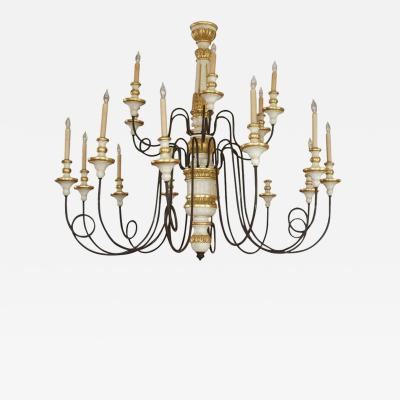 18 Light Iron Wood Florentine Chandelier