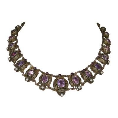 1800s Vintage Silver Amethyst natural pearl necklace brass silver circa 1867