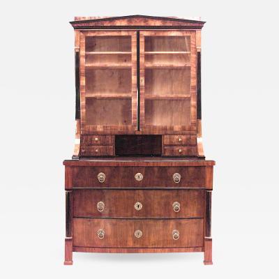 1825 Austrian Biedermeier Walnut Veneer Bookcase