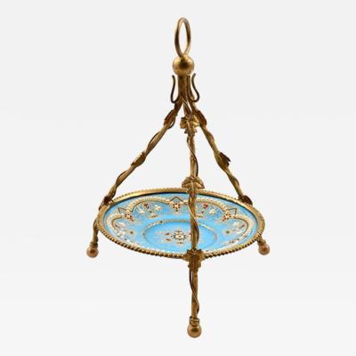 1860 Antique French Kiln Fired Blue Enamel Jewelry Holder