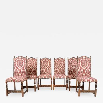 1870 Antique French Renaissance Henry II Oak Chairs Set of 6