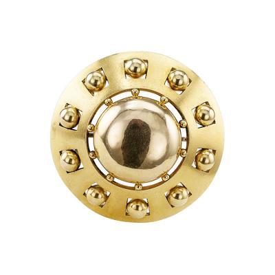 1870s 15 Karat Gold Victorian Circular Brooch