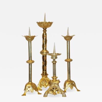 1880s French Baroque Revival Four Gilt Bronze Ormolu Pricket Candlesticks